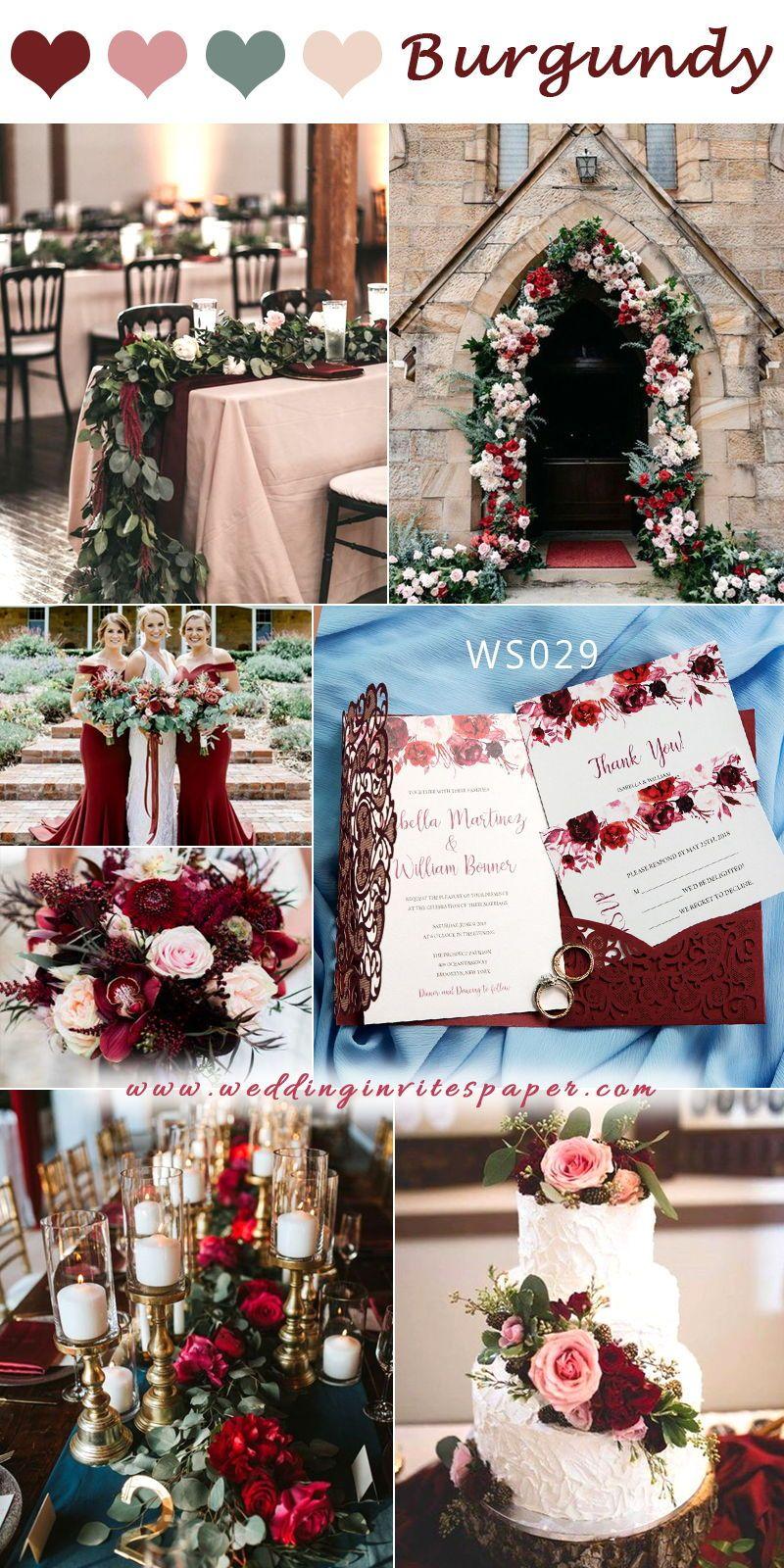 Fall Burgundy Pocket Laser Cut Wedding Invitations with Flowers, Elegantweddinginvites, Bridal Shower Invitations WS029