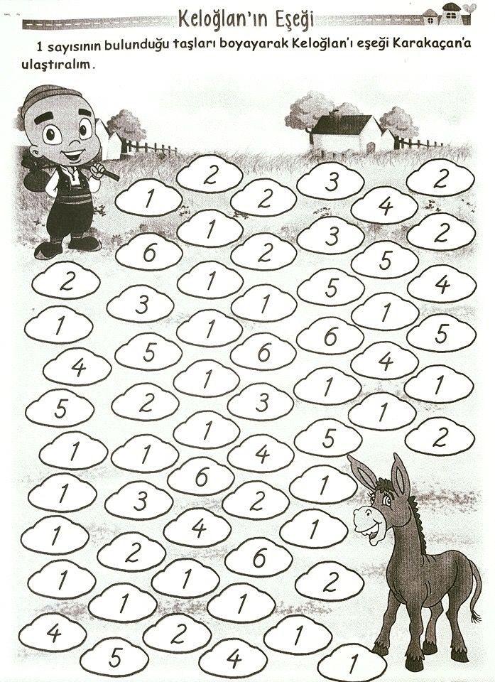 1 Rakamı Boyama çalışması 1sinif Matematik