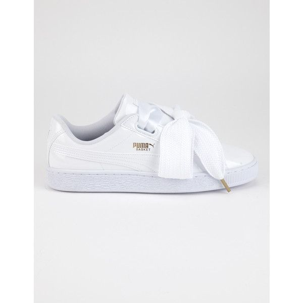 Puma Basket Heart Patent Womens Sneakers (1,665 MXN) ❤ liked on Polyvore featuring shoes, sneakers, metallic shoes, metallic sneakers, grip trainer, heart shoes and patent leather shoes