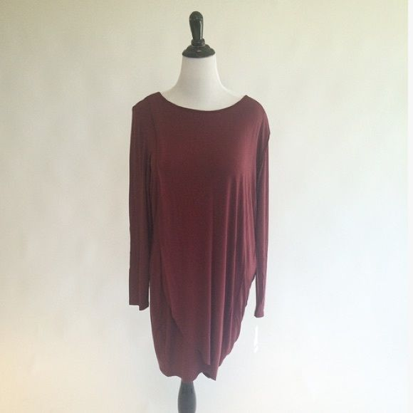 🎉HP🎉bar III bodycon draped dress Burgundy bar III dress w/ side wrap/cape. Easy to dress up or down. Brand new with tags! 95% rayon 5% spandex. Made in the USA! Bar III Dresses Long Sleeve