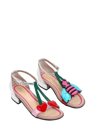 11b39378fa24 GUCCI - CHERRIES   BEE LAMINATED LEATHER SANDALS - SILVER