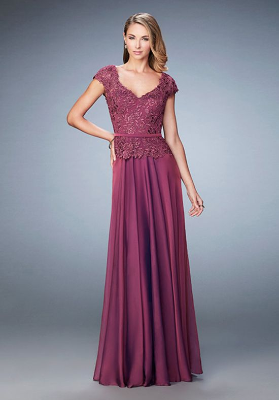 Perfect chiffon evening dress with embroidered lace overlay top and ...