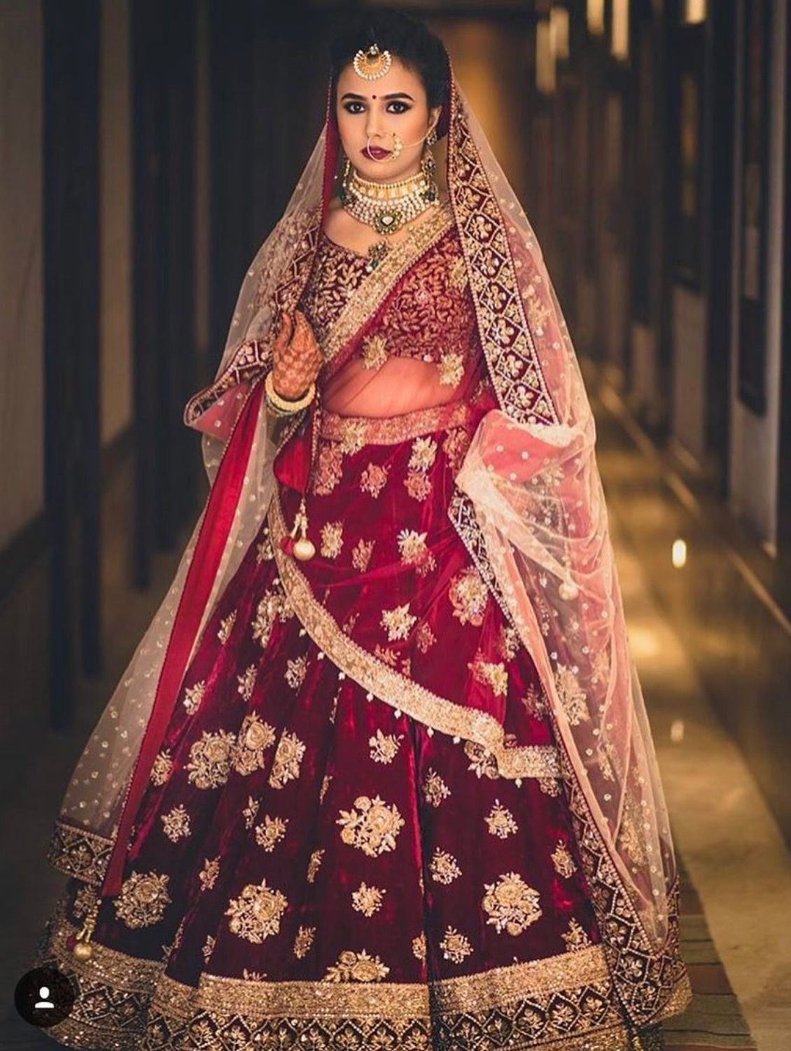 Bridal Red Lehenga with golden work #indainwedding#bride# ...