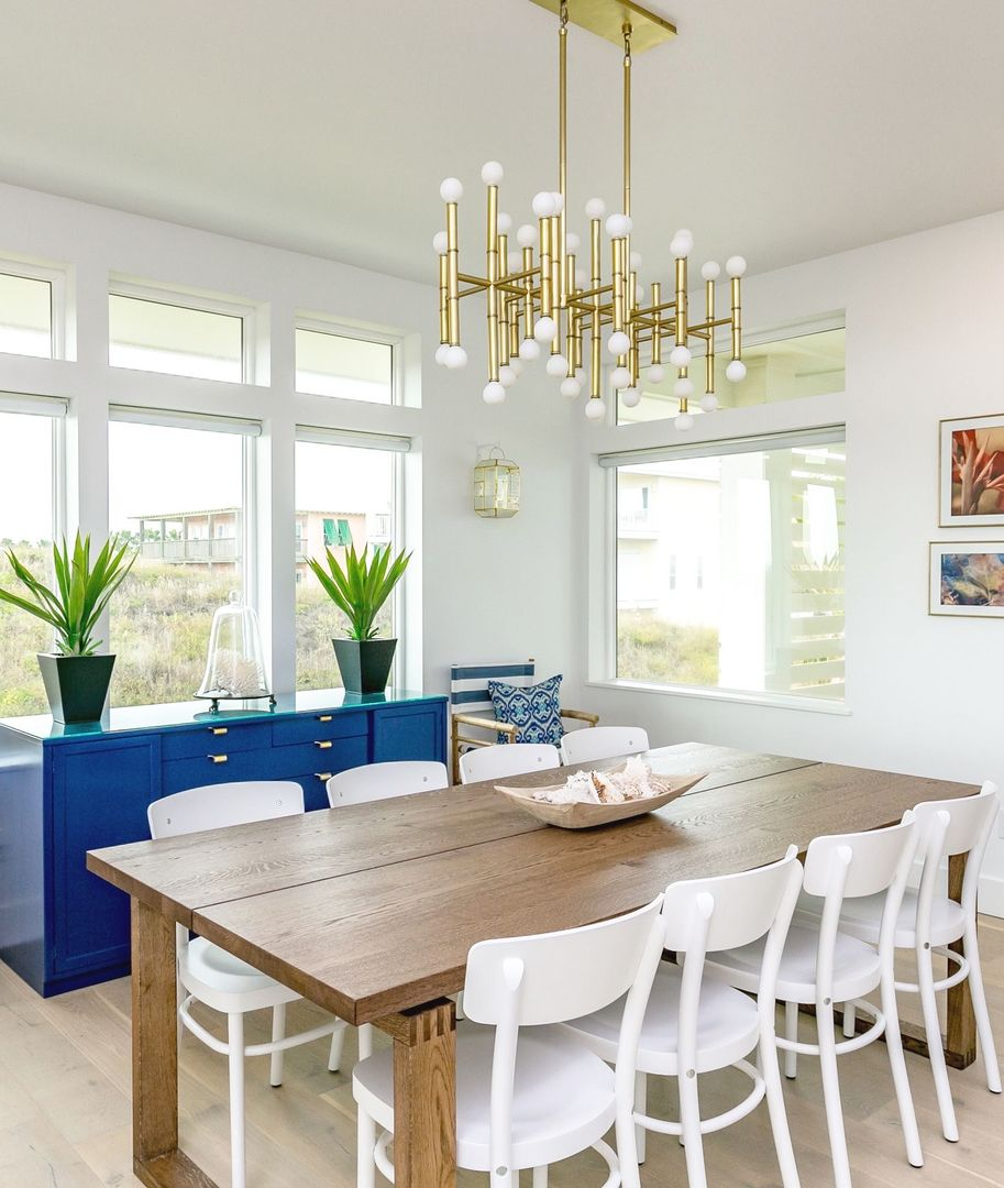 Beach House Dining Room With Cobalt Credenza And Jonathan Adler Chandelier Aquamarine In Port Aransas