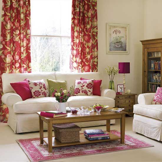 Gut Frühlingsblumen Wohnzimmer Farben Lila Dicke Vorhänge