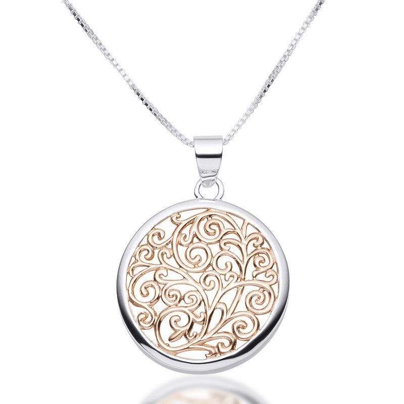 Rose Gold Filigree Circle Pendant Necklace   Zaffre Jewellery Australia