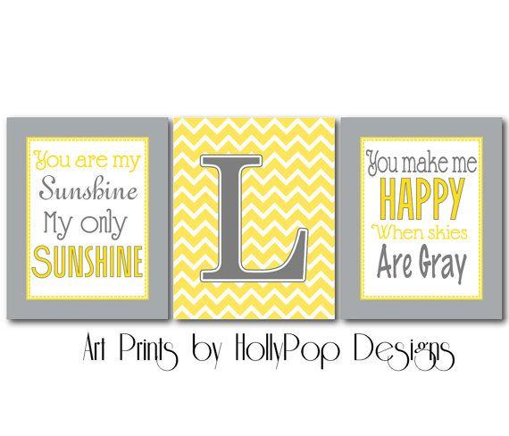 Yellow Gray Kids Decor-Nursery wall Decor art prints-You are My ...