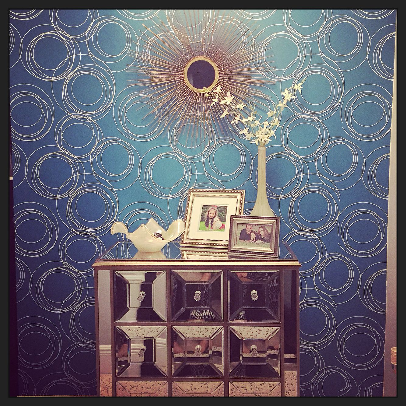 Accent wall in our foyer. Target removable wallpaper ...