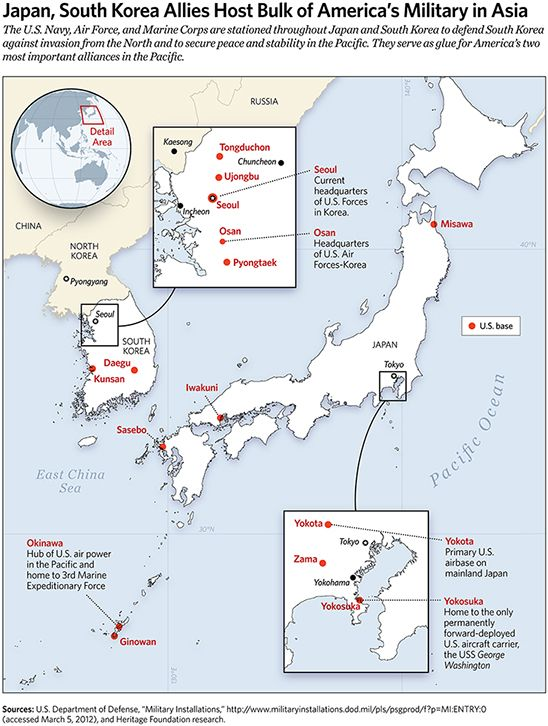 Japan South Korea Allies Host Bulk Of Americas Military In Asia - Map of us allies in the asia pacific
