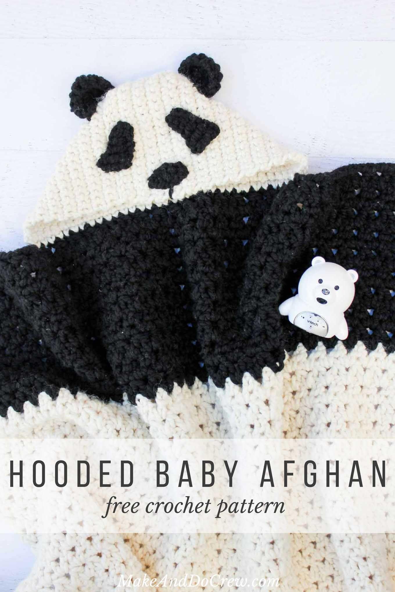 Crochet Panda Hooded Baby Afghan – Free Pattern | Manta, Manta de ...