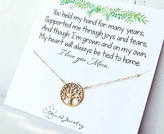 Family tree necklace for mom, mother of the bride gift, family tree pendant, tree of life, gold tree necklace for mom, wedding gift for mom