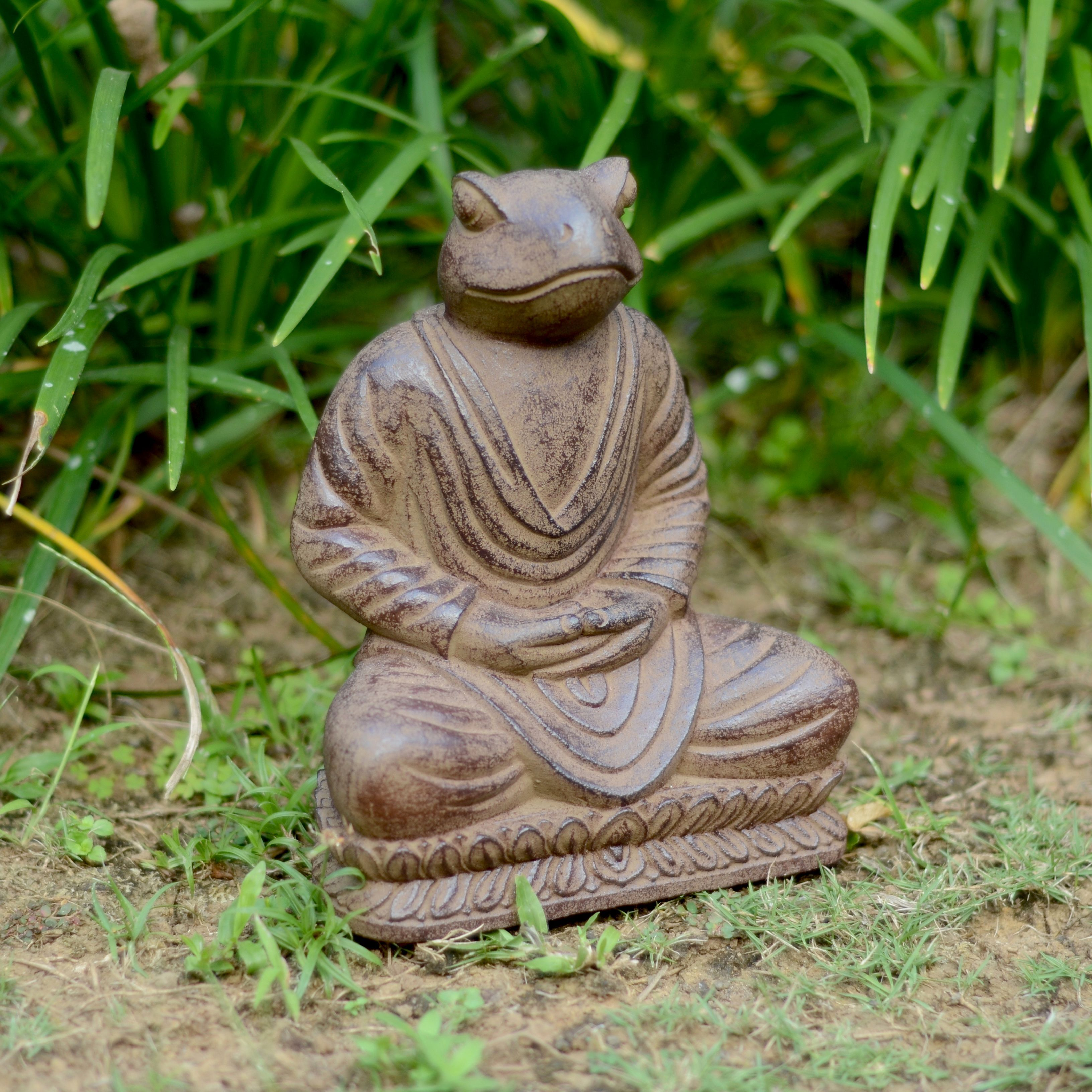 Volcanic Ash Black Meditating Frog Statue Handmade In Indonesia Stone Outdoor Decor Frog Statues Handmade Statue Garden Frogs