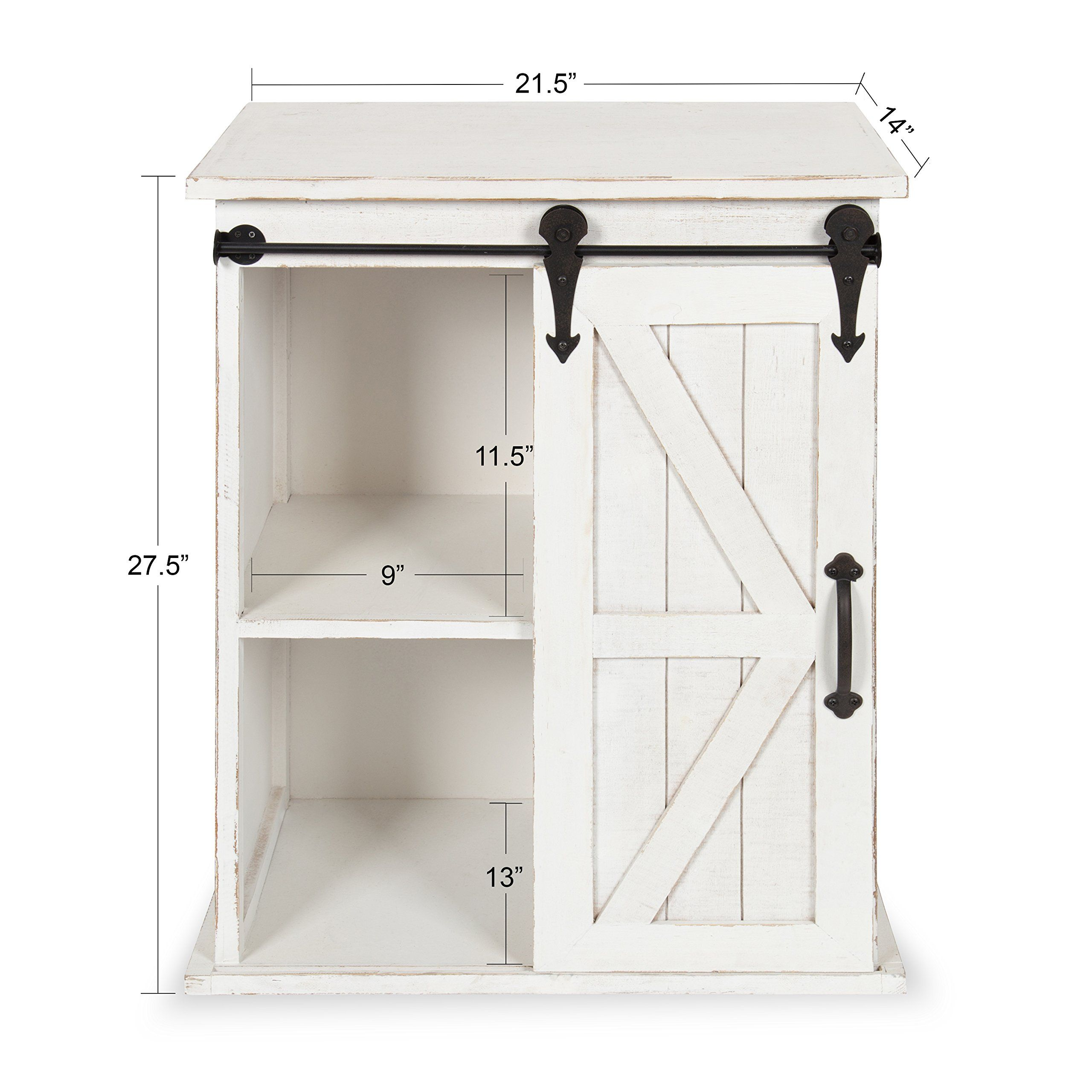 Kate And Laurel Cates Wooden Freestanding Storage Cabinet Side Accent Table With Sliding Barn Door Antiq Freestanding Storage Cabinet Barn Door Hidden Cabinet