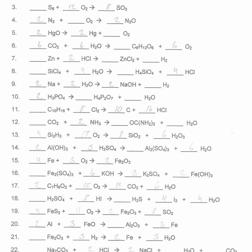Balancing Equation Worksheets With Answers Balancing Equations Equations Chemical Equation