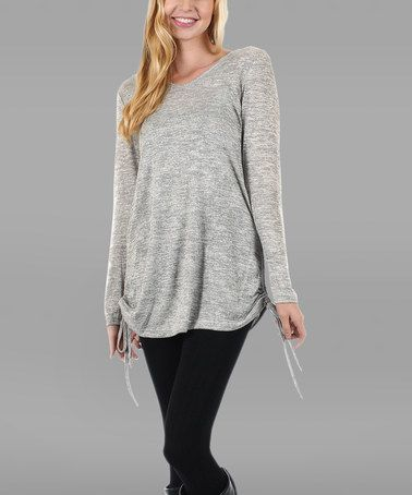 Look what I found on #zulily! Light Gray Side-Tie Scoop Neck Tunic #zulilyfinds