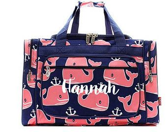 Navy and Pink Whale anchor duffel bag 253b7cf488e63