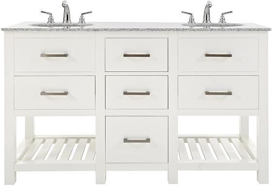 Fraser 60 Double Bath Vanity Granite Vanity Tops White Sink