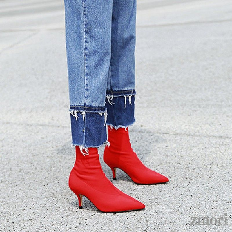 Red Stretchy Satin Socks Glove Point Head Kitten Heels Ankle Boots