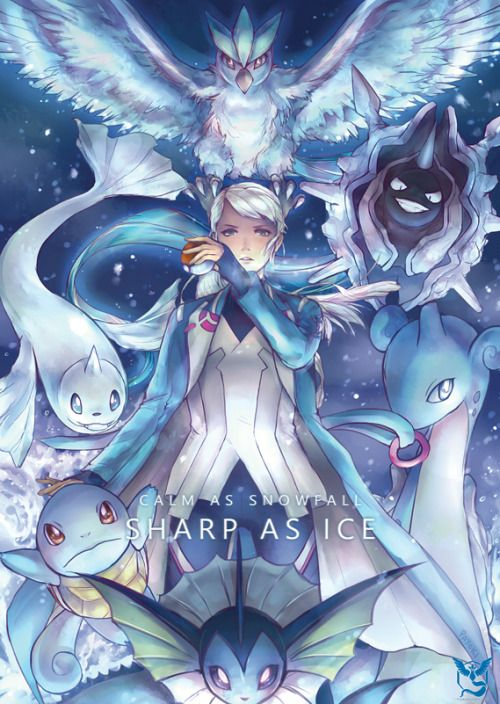 """payoki: """" Calm as snowfall, sharp as ice. Team Mystic stands ready to fight! I will be selling this as a print THIS WEEKEND at Animaga 2016 with Valor and Instinct! """""""