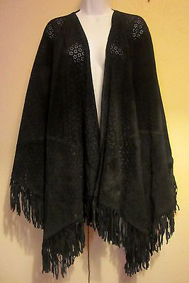 47e8741904 Women s One Size Suzanne Somers Collection Black Suede Leather Cape Fringed