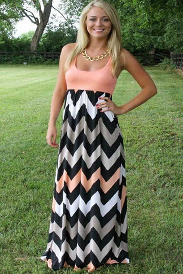 b879194738a Coral Chevron Printed Color Block Sleeveless Maxi Dress  Coral  Dress   maykool