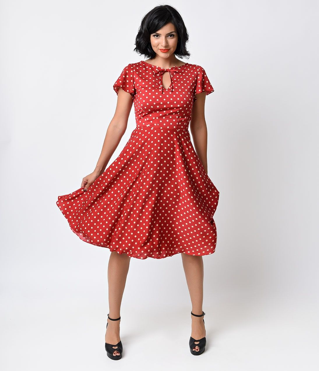 Preorder Unique Vintage 1940s Style Red Ivory Dot Formosa Swing Dress Vintage Swing Dress White Vintage Dress Unique Vintage Dresses [ 1275 x 1095 Pixel ]
