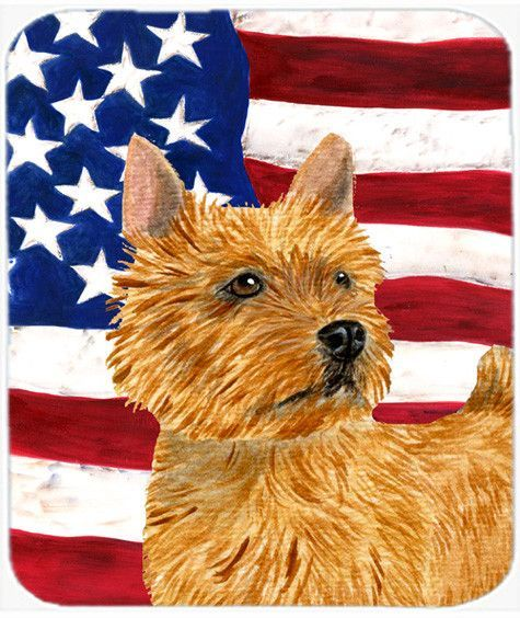 USA American Flag with Norwich Terrier Mouse Pad, Hot Pad or Trivet