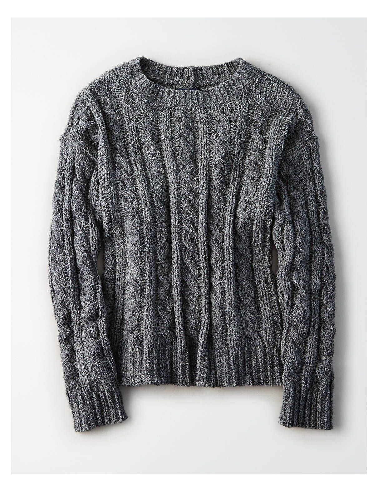 e18f2d29cdc223 AE Impossibly Soft Cable Knit Sweater, Gray | Aerie for American Eagle