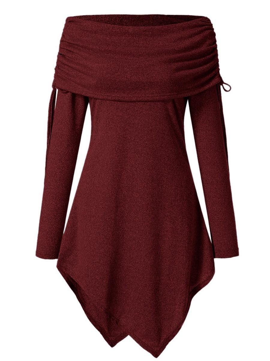 8ad6de895b89 #EnvyWe #BerryLook - #berrylook Autumn Spring Winter Women Off Shoulder  Asymmetric Hem Drawstring Plain Long Sleeve T-Shirts - EnvyWe.com