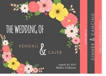 Whimsical Floral Pink and Gray Wedding Invitation! Multipage booklet cards are perfect for all your wedding details and photos!