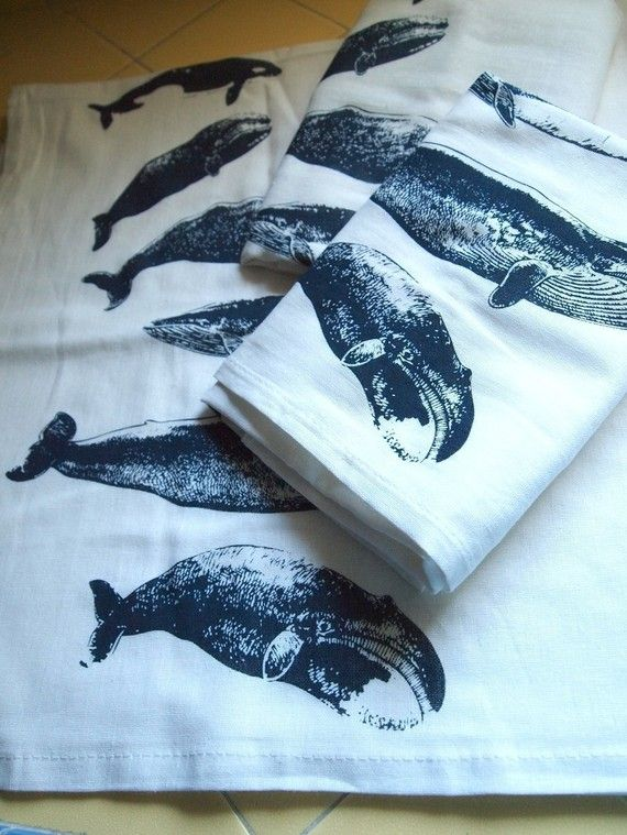 $13 Set of Two Whale Flour Sack Teatowels.