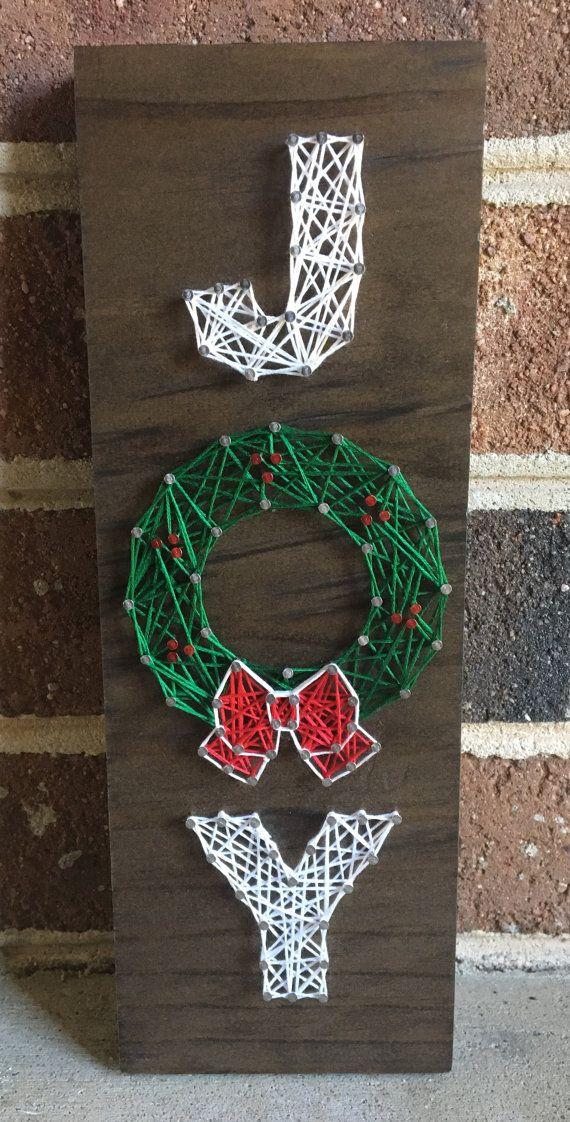 Joy Holiday Wreath Christmas Decor Winter Decor String Art Wood Sign #stringart