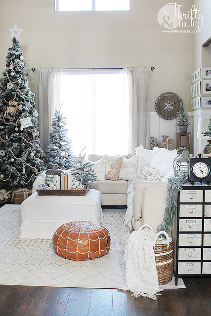 Wood And White Christmas Living Room Decor With Boho Accents Tour 2019 Christmas Decorations Living Room Christmas Living Rooms White Christmas Decor