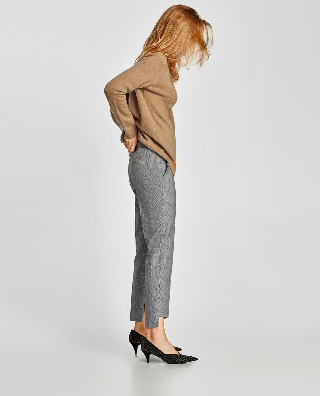 Zdjecie 4 Spodnie W Krate Z Asymetrycznymi Mankietami Nogawek Z Zara Trousers Women Checked Trousers Trousers
