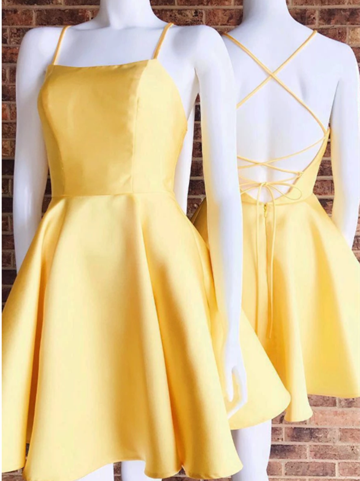 Custom Made Yellow Spaghetti Straps Short Satin Prom Homecoming Dress , Short Backless School Dance Dress Customized service and Rush order are available. For custom-made color, please leave the color number before the color chart (The color chart is in the products\u00a0listing\u00a0pictures) to us. If you are not custom color, please ignore this. For custom-made size, please leave us your following size (Measuring Guide is in the #shortbacklessdress