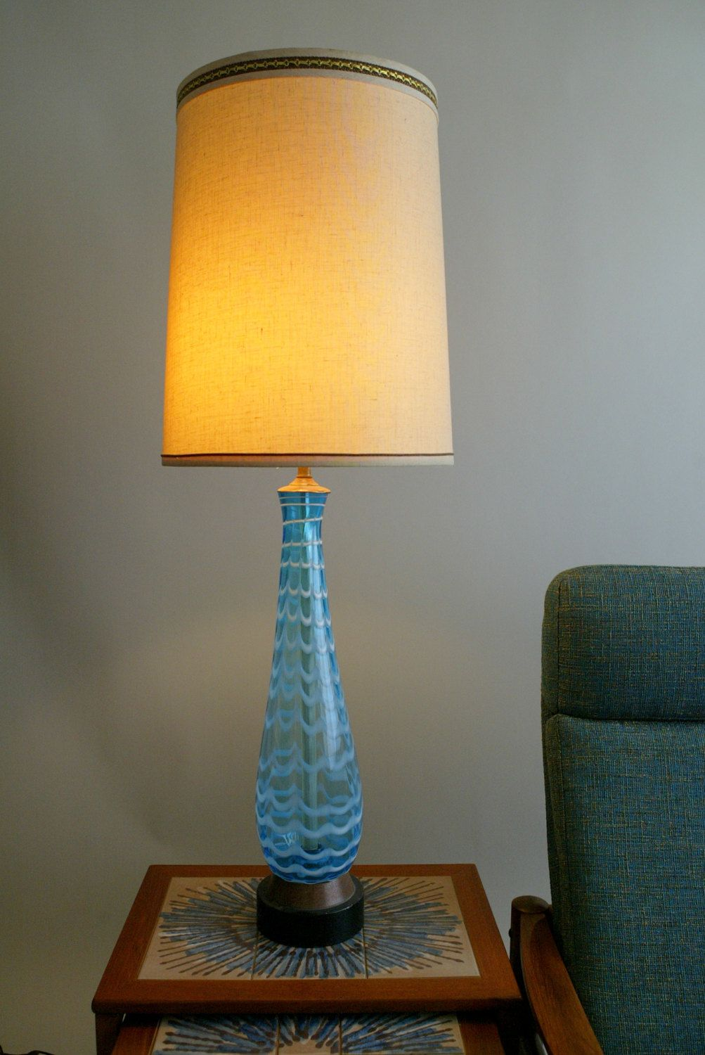 Blown glass table lamps - Items Similar To Huge Mid Century Italian Swirled Glass Table Lamp Very Tall Delicate Vintage Murano Italy Blown Glass Lighting Gorgeous Blue White