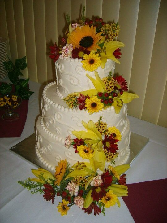 Mixed flower wedding cake