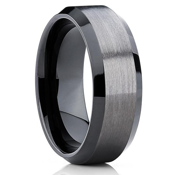 de14ac1ca0bd9b 10mm - Black Tungsten Wedding Band - Gray Wedding Band - Gun Metal Ring -  Clean Casting Jewelry
