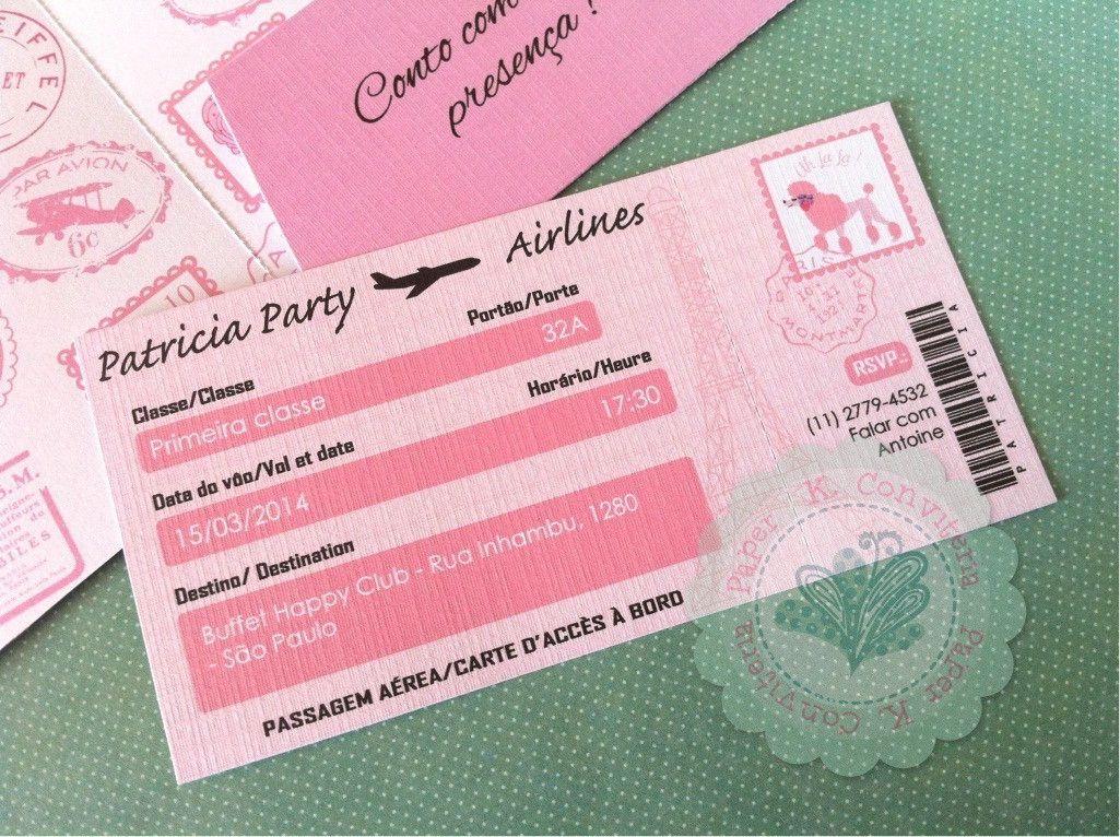 Convite Passaporte Paris Convite Comidas Para Festa De