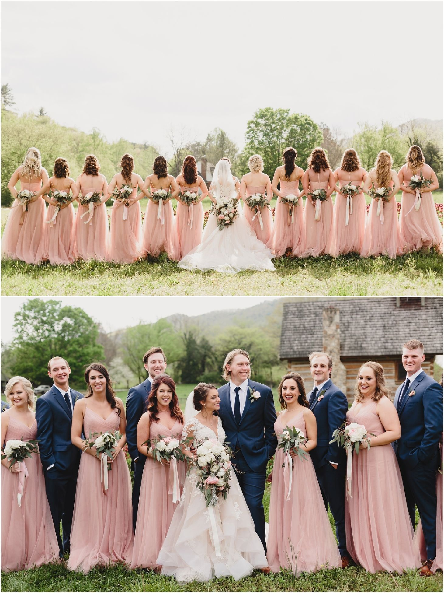 Blush Farm Wedding In The Smokies Bridal Parties Pictures Wedding Bridesmaids Dresses Blue Bridesmaid