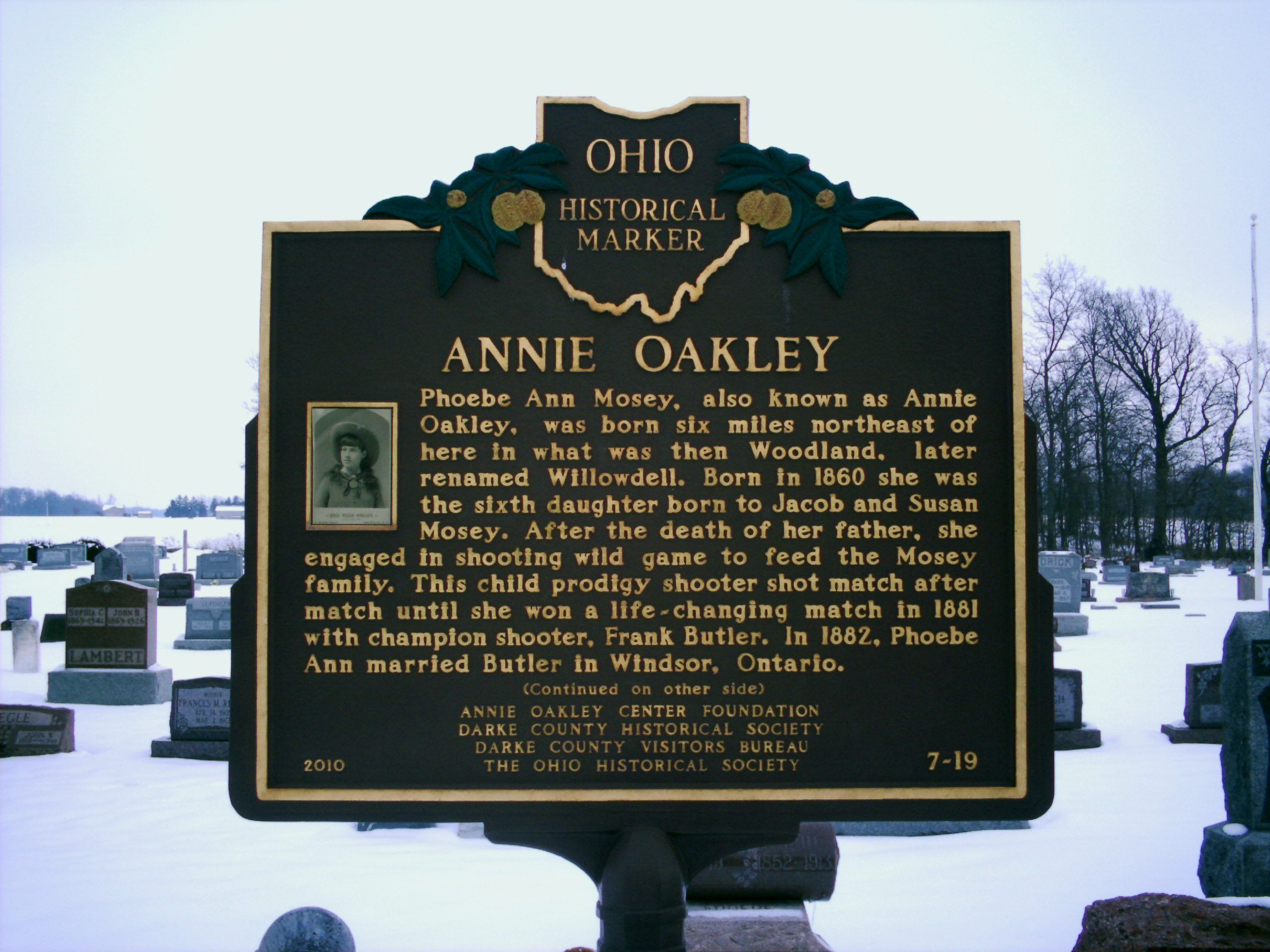 Brock, OH (Darke County) - Ohio Historical Marker # 7 - 19 at Annie Oakley's grave.