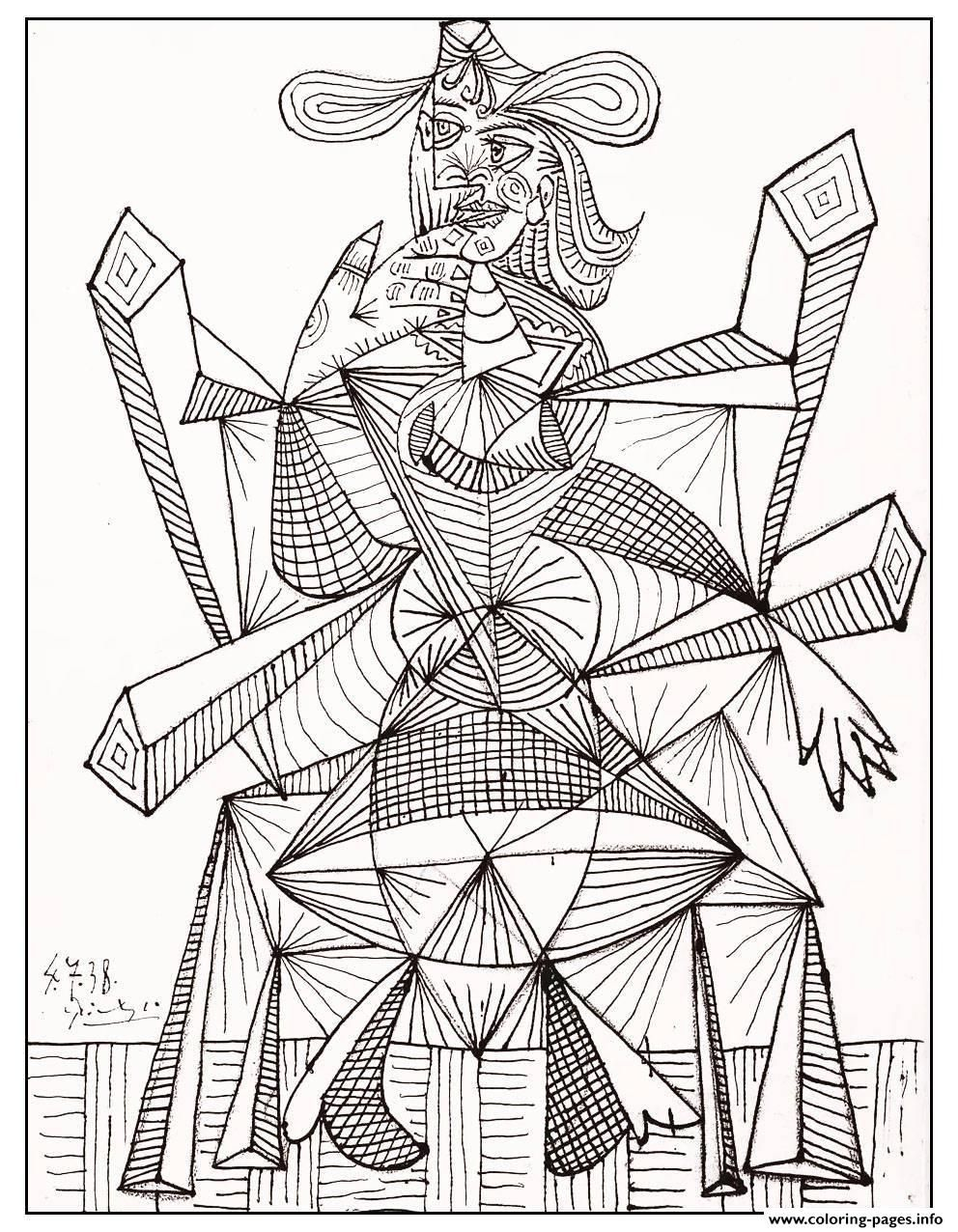 Print adult drawing by picasso 1938 coloring pages | Pablo Picasso ...