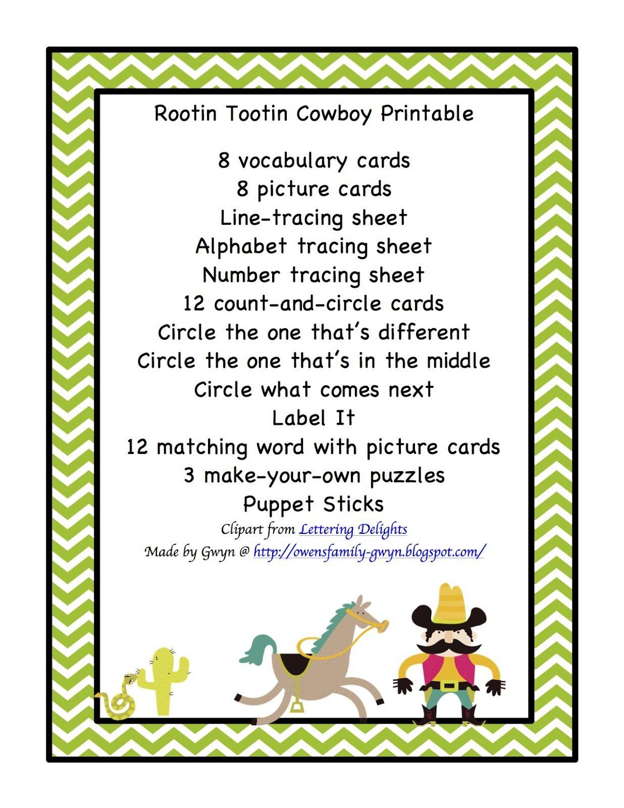Preschool Printables Cowboy