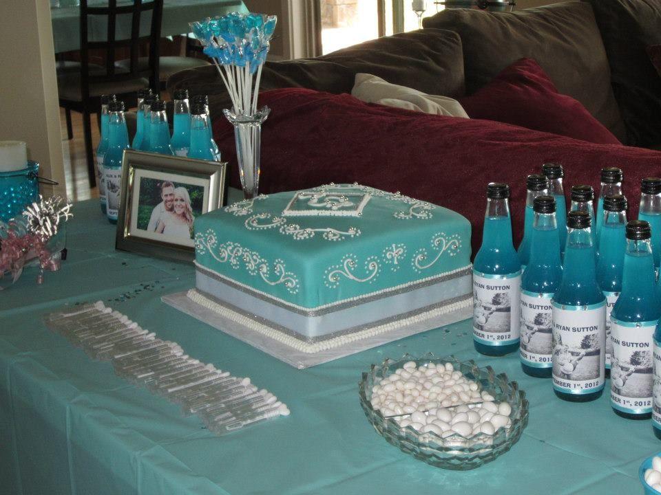 tiffany blue bridal shower cake with monogram