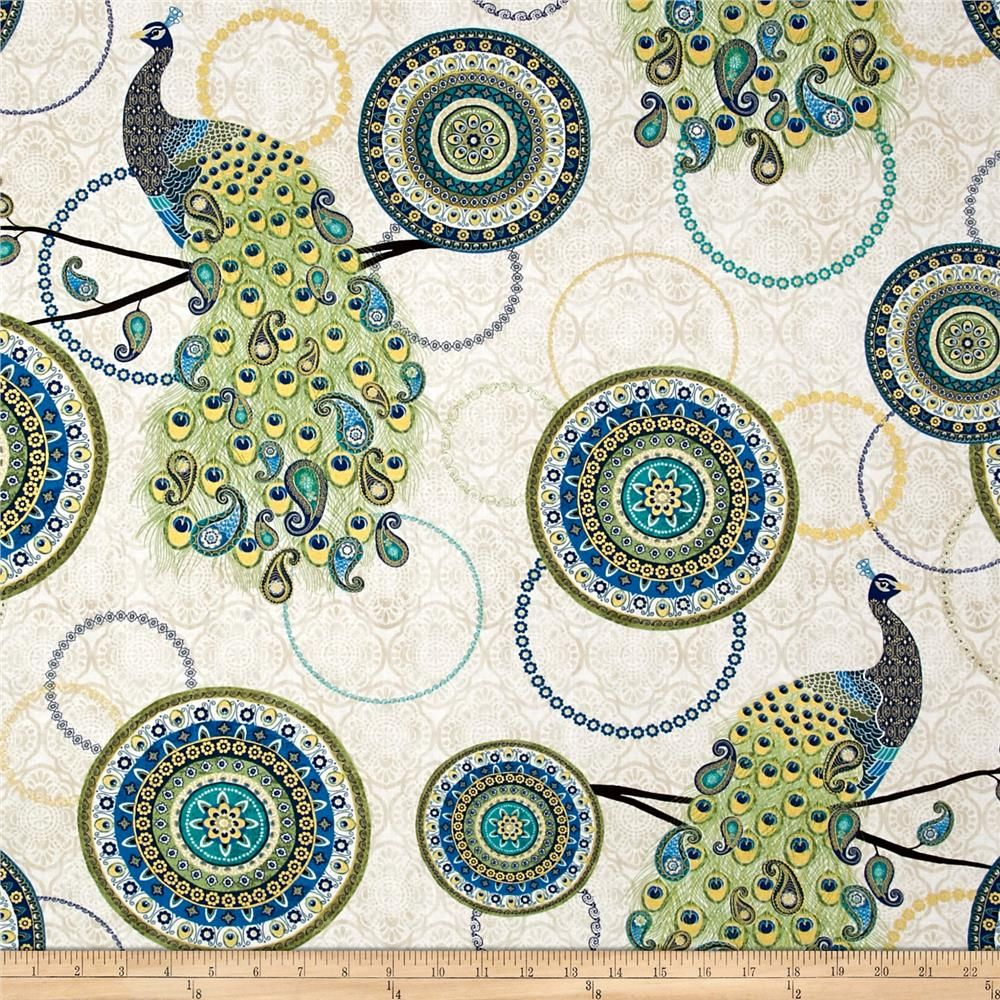 Timeless Treasures Exotic Metallic Large Peacock Cream from @fabricdotcom  Designed by Veronique Charron for Timeless Treasures, this cotton print fabric features stunning peacocks with detailed tails and medallions with a touch of metallic to take it over the top. Perfect for quilting, apparel and home decor accents. Colors include cream, taupe, brown and shades of blue and green.