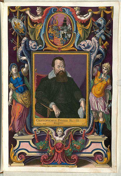 Fuggerorum et Fuggerarum imagines wurde 1588 von Philipp Eduard Fugger beim Kupferstecher Dominicus Custos in Auftrag gegeben.Das Werk enthält mit Aquarell-und Gouache-Farbe kolorierte Stiche der Mitglieder der Fugger von der Lilie.Der Druck von 1618 stellt das einzige kolorierte Exemplar dar.Christoph Fugger(1566- 1615)