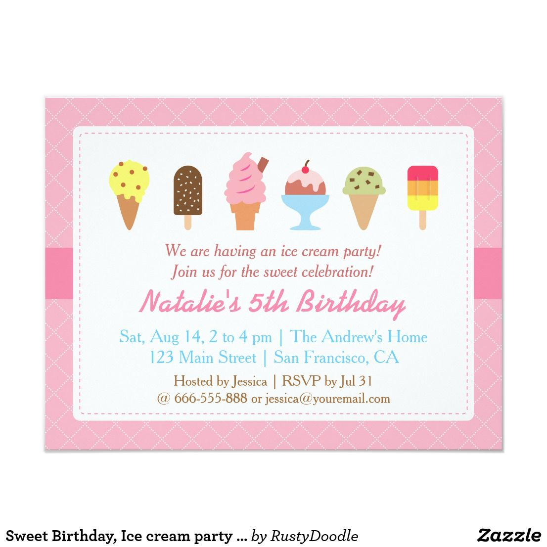 Sweet Birthday, Ice cream party invitations   Party invitations and ...