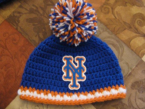 69284c66250 Crochet Beanie Baby Hat (New York Mets colors) Blue