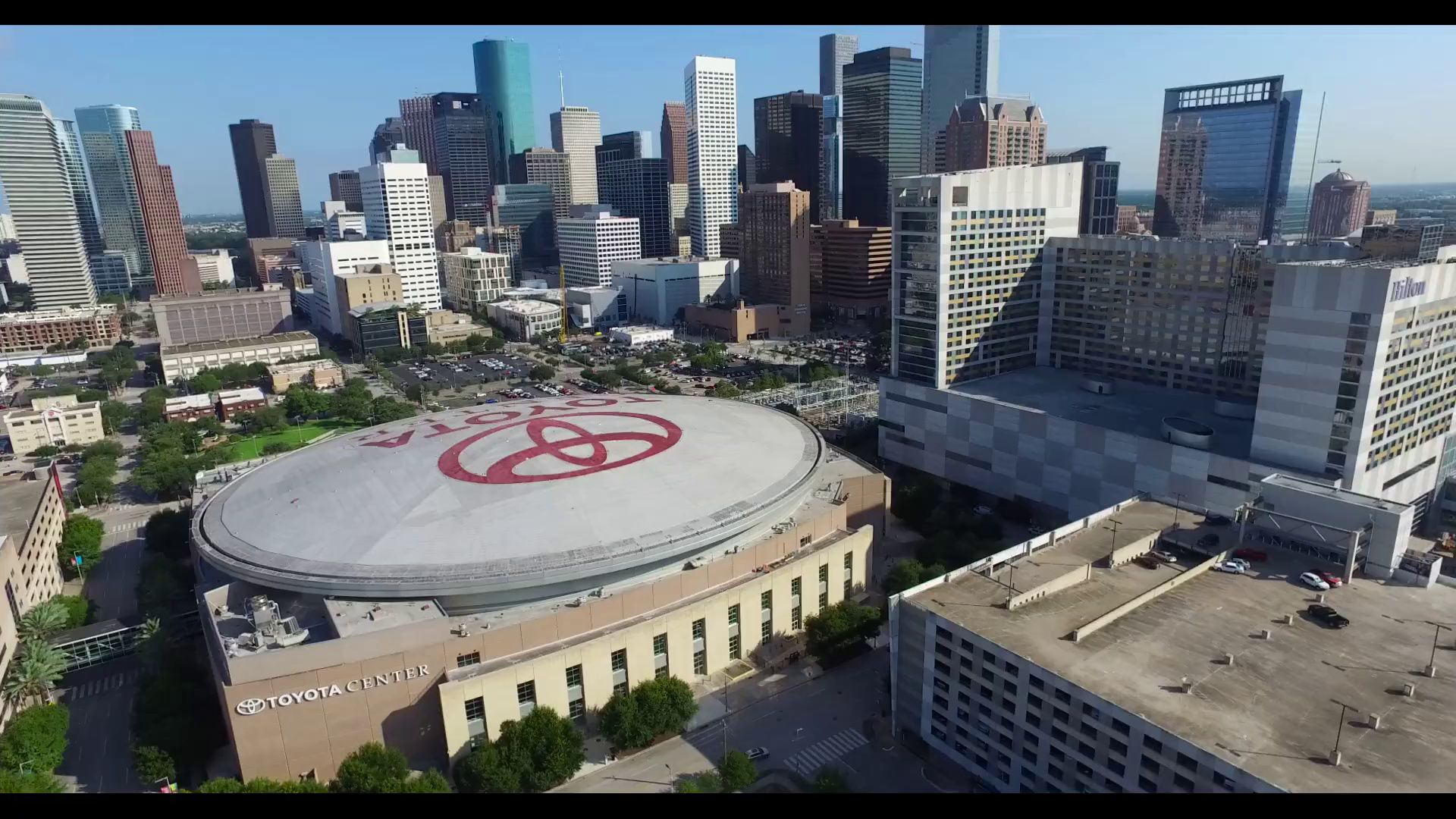 Aerial View Of The Toyota Center In Downtown Houston Downtown Houston Aerial View Aerial