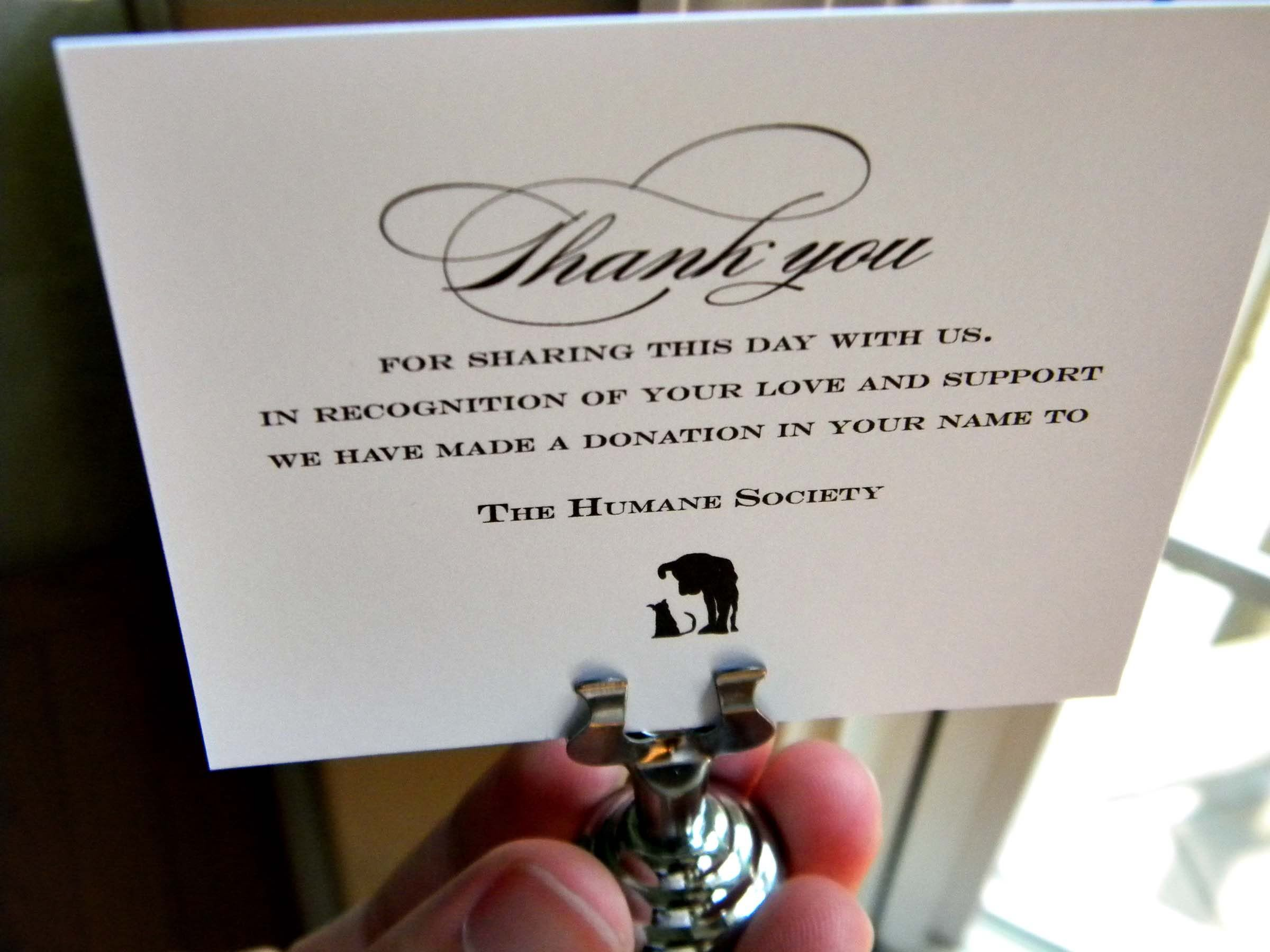 charity in lieu of country wedding favors | cards that highlight two ...